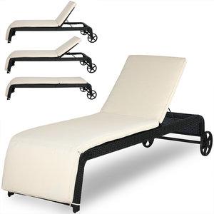 Ligstoel met verstelbare rugleuning, inclusief kussen, polyrotan, wicker, ligbed, zonnebed