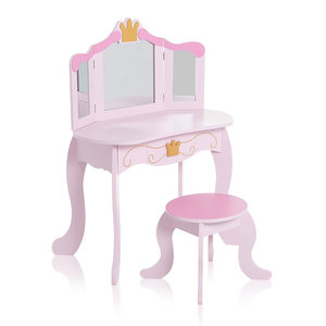 Kinder kaptafel, make-up tafeltje, met krukje, hocker, spiegel, lade