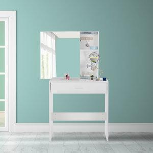 Kaptafel, wit, makeup tafel, LED-verlichting, met lade, spiegel, opbergkast, schuifkast