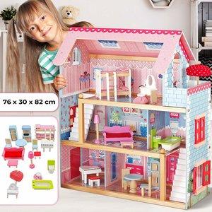 Poppenhuis, houten poppenhuis, met meubels