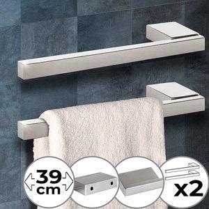 Handdoekrek, set van 2, RVS, handdoekhouder, handdoekstang