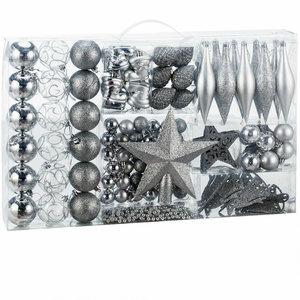 Kerstballenset, 102 delig, zilver, kerstdecoratie, kerstversiering