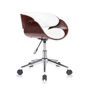Design bureaustoel, retro, wit/ bruin