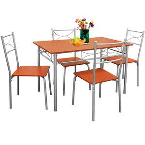 Eetkamer set , 4 eetkamerstoelen en tafel, Kastanjebruin - Somultishop