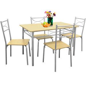 Eetkamer set , 4 eetkamerstoelen en tafel, Beuken - Somultishop