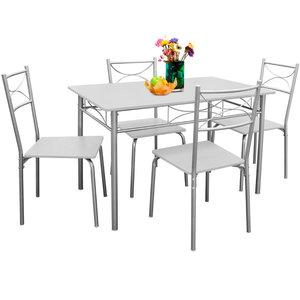 Eetkamer set , 4 eetkamerstoelen en tafel, wit - Somultishop