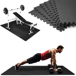 Set van 6 Vloermatten, fitnessmat, puzzelmat, ondergrond, set, zwart