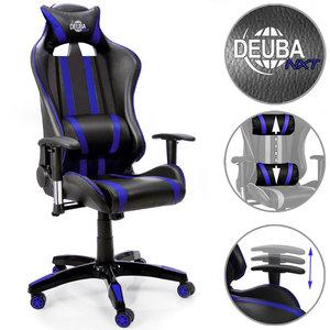 Verstelbare Bureaustoel Zwart.Bureaustoel Ergonomisch Verstelbaar Race Look Zwart Blauw