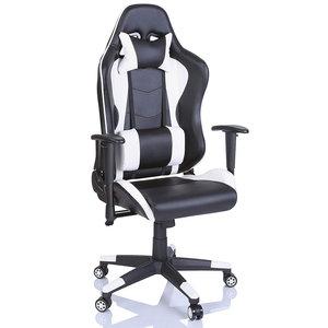 Bureaustoel Met Verstelbare Rugleuning.Racing Bureaustoel Zwart Wit Sportstoel Managersstoel Gamingstoel