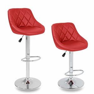 Barkrukken Rood, 2-delige set, 60-80 cm verstelbaar, 360 graden vrij draaibaar