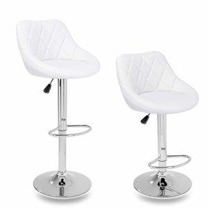 Barkrukken Wit, 2-delige set, 60-80 cm verstelbaar, 360 graden vrij draaibaar