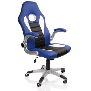 Racing bureaustoel Blauw/Wit/Zwart, gevoerde en verstelbare armleuningen, kantelmechanisme,