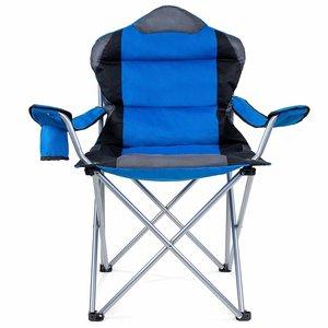 Campingstoel, vouwstoel, festivalstoel, klapstoel, blauw, met bekerhouder, opbergtas