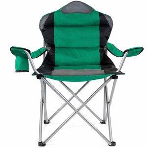 Campingstoel, vouwstoel, festivalstoel, klapstoel, groen, met bekerhouder, opbergtas