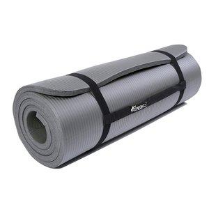 Yoga mat grijs, 190x100x1,5 cm dik, fitnessmat, pilates, aerobics