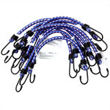 10 x Rubberen Bagagespin, blauw/wit, snelbinder, met haken 30 cm x 8 mm Ø_
