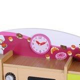 Houten speelkeuken, kinderkeuken in roze, groen, oranje met schoolbord_