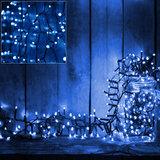 Kerstverlichting, 6 meter, 100 LEDs, blauw, 8 lichtfuncties_
