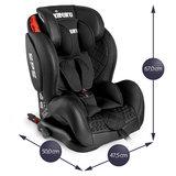 Autostoeltje zwart met Isofix, leer, meegroeistoel, kinderstoel, 9 kg - 36 kg, 1-12 jaar_