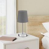 Tafellamp, nachtlamp, grijze kap, metalen voet_