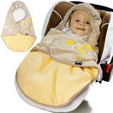 Babydeken met voetenzak, geel, gevoerd_