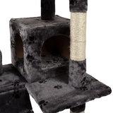 Krabpaal, kattenkrabpaal, kattenpaal, 175 cm, grijs met pootjes motief_