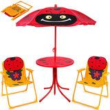 Tuinset, kinderstoelen, inklapbaar, tafel met parasol_