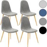 Designstoel met modieuze lichtgrijze stoffen bekleding, eetkamerstoel set van 4, comfortabel_