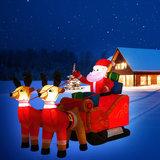 Grote opblaasbare kerstman met arreslee, voor binnen en buiten, met LED verlichting_