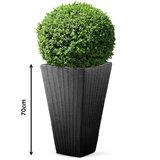 Bloembak, plantenbak, gevlochten, taupe, vierkant, voor binnen en buiten_
