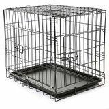 Bench maat S 60 x 42 x 52 cm, transportkooi, hondenbox draadkooi, hondenkooi, autotransportbox, zwart, met 2 deuren, opvouwbaar_