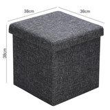 Poef, hocker, donkergrijs 38x38x38 cm, zitbank met opbergsysteem, opvouwbaar_