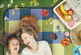 Picknickdeken, ruitmotief, geel-blauw, picknickkleed, 195 x 150 m, waterdicht, campingdeken, outdoor plaid, stranddeken_