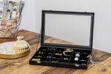Sieradendoos, juwelendoos, 24 vakken, met glasplaat, sieradenbox, juwelenopberger_