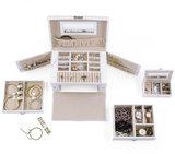 Sieradenkoffer, sieradenbox, wit, sieraden opberger, juwelenkoffer_