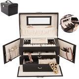 Sieradenkoffer, sieradenbox, zwart, sieraden opberger, juwelenkoffer_