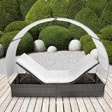 ''Tweede kans artikel''Miadomodo polyrotan wicker zonnebed met baldakijn, ligbed, loungebed, grijs-RA0413_