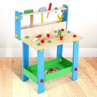 Werkbankje, blauw, met kinder gereedschap, kinderwerkbank, speel werkbankje, werkbank, speelgoedwerkbank