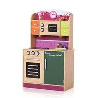 Houten speelkeuken, kinderkeuken in roze, groen, oranje met schoolbord