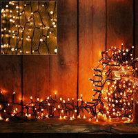 Lichtketting, 160 LED, kerstverlichting, feestverlichting, warmwit licht, op batterijen