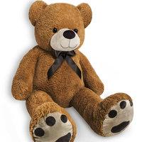 Teddybeer, 150cm, knuffel, knuffelbeer, bruin, met strik, pootafdruk, Valentijn