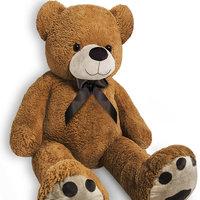 Teddybeer, 175cm, knuffel, knuffelbeer, bruin, met strik, pootafdruk, Valentijn