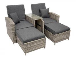 Luxe ligstoel voor 2 personen met hockers, tweepersoons ligbed, lounge set, grijs, polyrotan - Gratis verzending