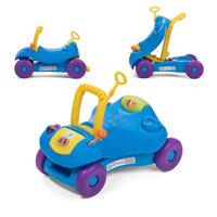 2 in 1 loopwagen en loopauto in blauw