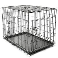 Bench maat L 90 x 60 x 67 cm, transportkooi, hondenbox draadkooi, hondenkooi, autotransportbox, zwart, met 2 deuren, opvouwbaar