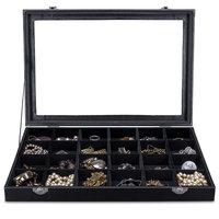 Sieradendoos, juwelendoos, 24 vakken, met glasplaat, sieradenbox, juwelenopberger