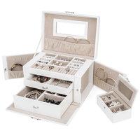 Sieradenkoffer, sieradenbox, wit, sieraden opberger, juwelenkoffer