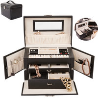 Sieradenkoffer, sieradenbox, zwart, sieraden opberger, juwelenkoffer