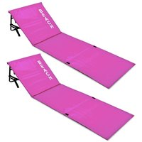 Set strandmatten roze, 2x, met rugleuning, roze, strand bed, ligbed