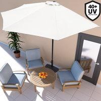 ''Tweede kans artikel''Balkon parasol, Cremè halve parasol, muur parasol-RA0406
